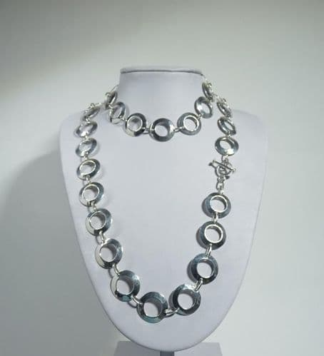 Copy of 925 Sterling Silver Solid Longer Necklace - Hammered Finish Links- Exclusive